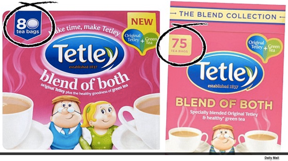 downsizing packages Tetley Tea