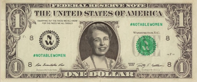 female currency images and Eleanor Roosevelt