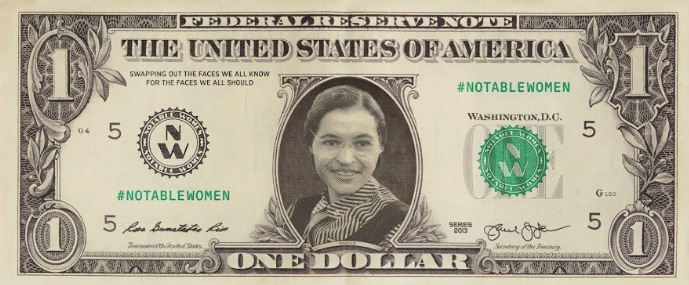 female currency images Rosa Parks